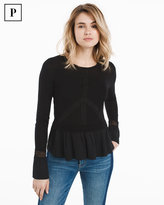 White House Black Market Petite Embroidered Sweater with Woven Peplum Hem