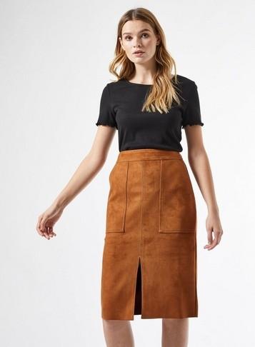 Dorothy Perkins Womens Tan Suedette Skirt