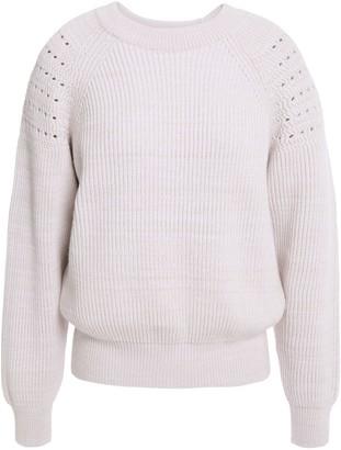 Nina Ricci Ribbed Melange Wool And Cotton-blend Sweater