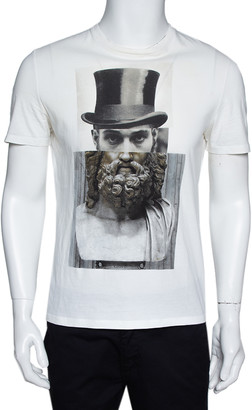 Neil Barrett Cream Cotton Hybrid Top Hat Statue Print T-Shirt S