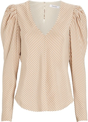 Frame Shirred Striped Silk Blouse