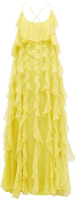Valentino Ruffled Open-back Silk-chiffon Gown - Womens - Yellow