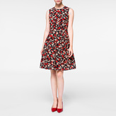 Paul Smith Women's Black Silk 'Large Wild Floral' Print Mini-Dress