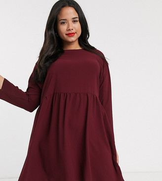 ASOS DESIGN Curve long sleeve smock mini dress in oxblood