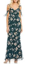 Lucy Paris Cold Shoulder Ruffle Floral Print Maxi Dress