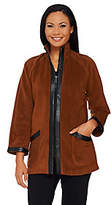 Bob Mackie As Is Bob Mackie's Zip Front Fleece Jacket with Faux Leather