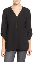 Chaus Women's Zip V-Neck Blouse