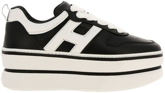 Hogan Sneakers 449 In Leather With Rounded H And Maxi Platform Sole