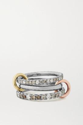 Spinelli Kilcollin Scorpio Deux Set Of Three 18-karat Blackened, Yellow And Rose Gold Diamond Rings - Silver