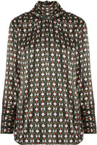 Fendi Pussy-bow Printed Silk-satin Blouse - Army green