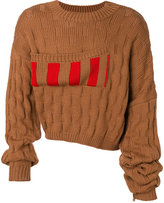 Raf Simons striped basket weave jumper with elongated sleeves