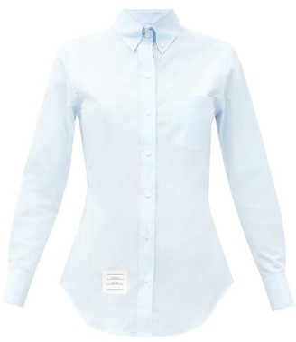 Thom Browne Logo-label Cotton-poplin Button-down Shirt - Blue