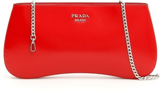 Prada Brushed Chain Strap Clutch Bag