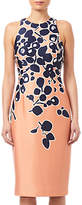 Adrianna Papell Spotted Garden Printed Dress, Apricot/Navy
