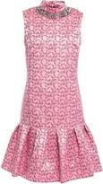 Erdem Nena Fluted Embellished Floral-jacquard Mini Dress