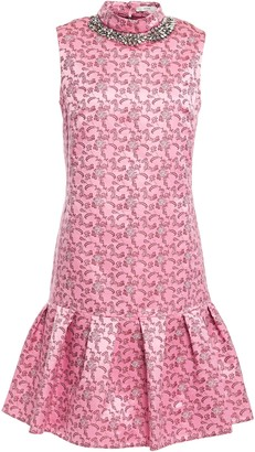 Erdem Nena Fluted Embellished Floral-jacquard Mini Dress