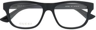 Gucci Logo Plaque Rectangular-Frame Glasses