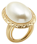 Kenneth Jay Lane Pearl Textured Oval Statement Ring