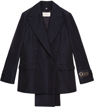 Gucci Removable-Lapel Double-Breasted Faille Blazer