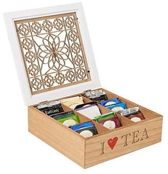 Mind Reader Tea Bag Storage Holder Box with Wood Floral Pattern
