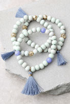 LuLu*s Magic Word Gold and Mint Blue Bracelet Set