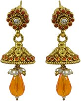 Matra Indian Women Goldtone CZ Stone Jhumka Earrings Traditional Designer Jewelry