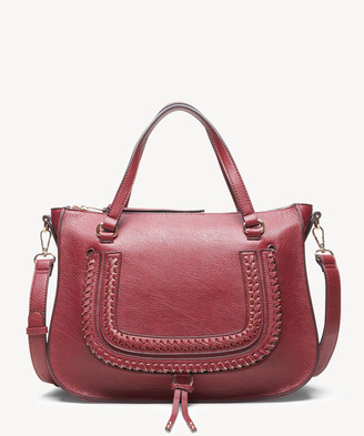 Sole Society Women's Destin Satchel Vegan Studded Whipstich In Color: Oxblood Bag Vegan Leather From