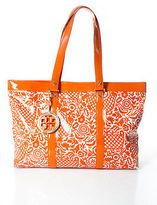Tory Burch Orange Coated Canvas Patent Leather Trim Large Tote Handbag