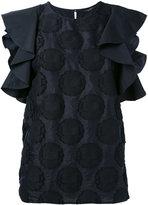 Roberto Collina ruffled sleeves dots blouse - women - Cotton/Nylon - S