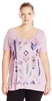 Just My Size Women's Plus Short Sleeve Graphic V-Neck Tunic