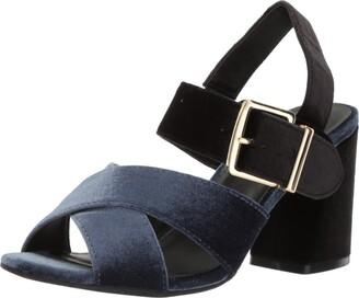 Kenneth Cole Reaction Women's Lilia Velvet Dress Sandal with Flared Block Heel Heeled
