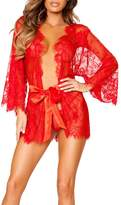 Cathery Women Sexy Lace Dress G-string Lingerie Sheer Babydoll Sleepwear Nightdress Robe (L, )
