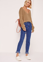 Missguided Nude V-Neck Slouchy Cropped Sweater
