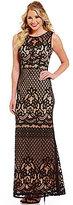 Jodi Kristopher Sleeveless Patterned Lace Long Dress