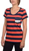 Nike Women's Striped Casual Shirt With Pocket-Red/Navy-Medium