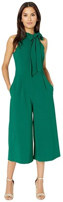 Vince Camuto Kors Crepe Bow Neck Cropped Jumpsuit (Green) Women's Jumpsuit & Rompers One Piece