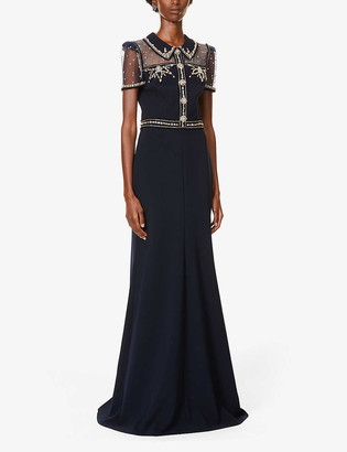 Jenny Packham Dolly crystal-embellished stretch-crepe gown