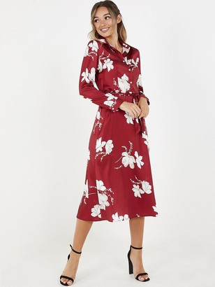 Quiz Floral Satin Shirt Dress - Wine