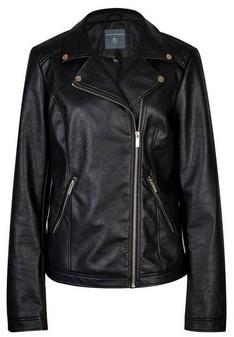Dorothy Perkins Womens Tall Black Pu Biker Jacket, Black