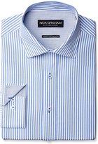 Nick Graham Men's Stripe Poplin Dress Shirt