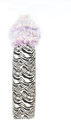 Rue Agthonis Irregular Zebra Feather Halter Dress