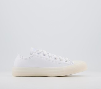 Converse All Star Low Trainers White Leather Iridescent Exclusive