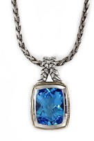 Effy Jewelry Effy 925 Sterling Silver and 18K Yellow Gold Blue Topaz Pendant, 12.35 TCW