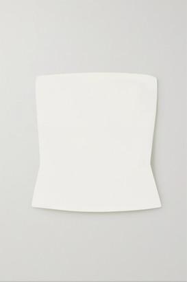 A.W.A.K.E. Mode Button-detailed Strapless Crepe Top - White