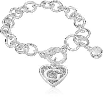 GUESS Toggle Chain Bracelet with Logo Heart Link Charm Bracelet