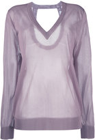 Christian Wijnants sheer v-neck top - women - Polyester/Viscose - S
