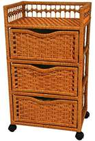 """Oriental Furniture 31"""" Natural Fiber Chest of Drawers on Wheels - Honey"""