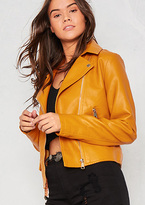 Missy Empire Sydney Mustard Faux Leather Biker Jacket
