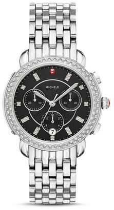 Michele Sidney Black Mother-of-Pearl & Diamond Chronograph Watch Head, 38mm