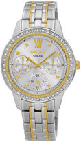 Seiko Recraft Womens Crystal-Accent Two-Tone Solar Bracelet Watch